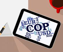 Cop Currency Represents Exchange Rate And Coin - stock illustration