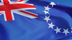 Cook Islands flag in slow motion seamlessly looped with alpha Stock Footage