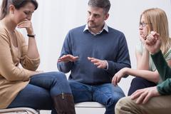 Group therapy session can help express emotions Stock Photos