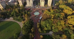 Flying over European city park in Autumn 4K Stock Footage