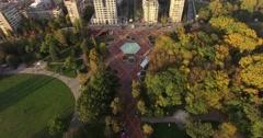 City Park, Autumn, Trees, Garden, Colors, Aerial, Descending, - stock footage