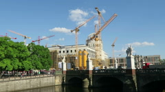 Berliner Stadtschloss rebuilding with all its crane and constructions. Stock Footage
