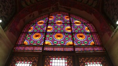 the old antique mosque with glass and mirror traditional architecture- Iran Stock Footage