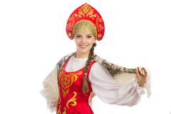 Beautiful  smiling russian girl in folk costume Stock Photos