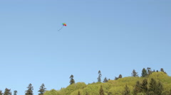 Colorful Kite Blowing in the Wind High Above Trees Stock Footage