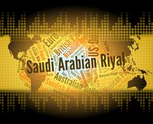 Saudi Arabian Riyal Means Foreign Currency And Banknote - stock illustration