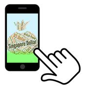 Singapore Dollar Means Worldwide Trading And Broker Stock Illustration