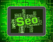 Seo Word Means Wordcloud Website And Optimization - stock illustration