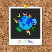 Vector cork board with instant photo card and Animals around planet Earth Stock Illustration