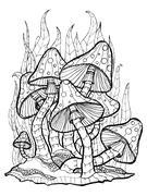 Mushrooms. Amanita. Coloring page - stock illustration