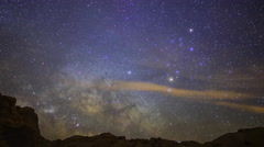 Astro Time Lapse of Milky Way over Desert Landscape in Valley of Fire -Long Shot Stock Footage