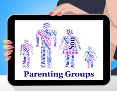 Parenting Groups Indicates Mother And Baby And Association Stock Illustration