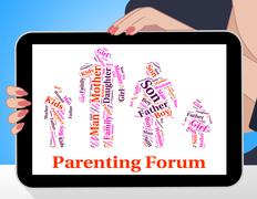 Parenting Forum Means Mother And Baby And Child Stock Illustration