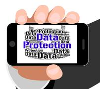 Data Protection Shows Words Secured And Facts - stock illustration