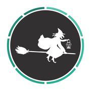 Witch computer symbol Stock Illustration