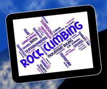 Rock Climbing Represents Text Rocks And Climber Stock Illustration