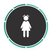 girl computer symbol - stock illustration