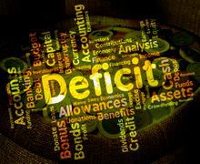 Deficit Word Means Bad Debt And Deficiency - stock illustration