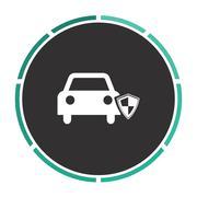 Protect car computer symbol - stock illustration
