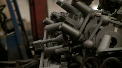 Metallurgical industrial factory: iron parts. Stock Footage