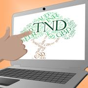 Tnd Currency Shows Worldwide Trading And Broker - stock illustration