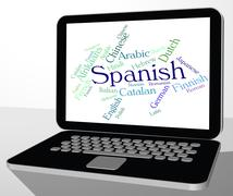 Spanish Language Means Wordcloud Translator And Text - stock illustration