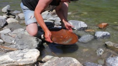 A Woman mining Gold Nugget from the River, with a gold pan. Stock Footage