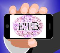 Etb Currency Indicates Exchange Rate And Coin - stock illustration