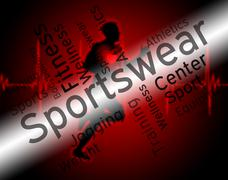 Sportswear Word Indicates Shirt Garments And Words - stock illustration