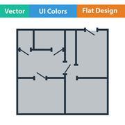 Flat design icon of apartment plan Piirros
