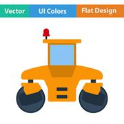 Flat design icon of road roller - stock illustration