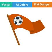 Football fans waving flag with soccer ball icon. - stock illustration
