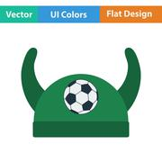 Football fans horned hat icon Stock Illustration