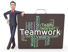 Teamwork Words Means Teams Unit And Unity - stock illustration
