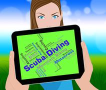 Scuba Diving Shows Divers Word And Underwater Piirros
