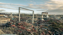 Destroyed city.Old ruins Stock Footage