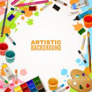 Artistic Background With Tools For Paintings - stock illustration