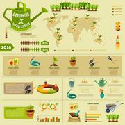 Gardening Infographic Layout - stock illustration