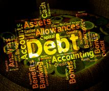 Debt Word Means Words Liability And Debts Stock Illustration
