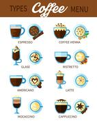 Types Of Coffee Set Stock Illustration