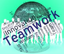 Teamwork Words Shows Text Organized And Networking Stock Illustration