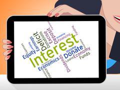 Interest Word Indicates Profit Returns And Text - stock illustration