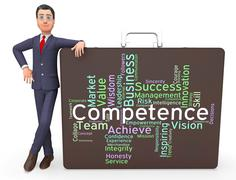 Competence Words Represents Capability Aptitude And Adeptness Stock Illustration