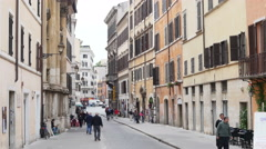 A beautiful street and buildings architecture in Rome Italy Stock Footage