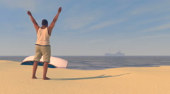Male figure on a beach waving to a UAV drone, 3D animation - stock footage