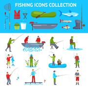 Fishing Flat Icons  Banners Set Stock Illustration