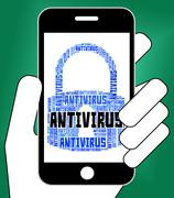 Antivirus Lock Represents Word Infection And Spyware - stock illustration