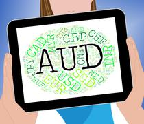 Aud Currency Means Worldwide Trading And Coinage - stock illustration
