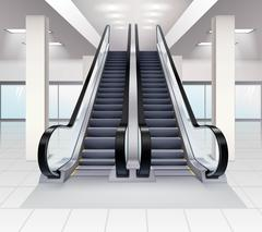 Up And Down Escalators Interior Concept - stock illustration