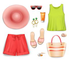 Women Beach Clothing Accessories Set - stock illustration